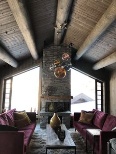 Wooden Cabins, Cabin Interiors, Farmhouse, Cottage, Curtains, Table Decorations, Architecture, Fireplaces, Homes