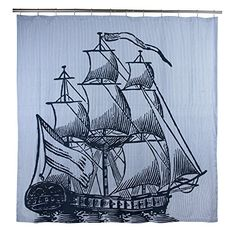 THOMAS PAUL Galleon Shower Curtain, Ink | Curtain Store
