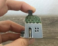 Handmade with Love by me by potteryhearts on Etsy Clay Houses, Ceramic Houses, Miniature Houses, Clay Art Projects, Clay Crafts, Hand Built Pottery, Pottery Art, Pottery Houses, Clay Fairies