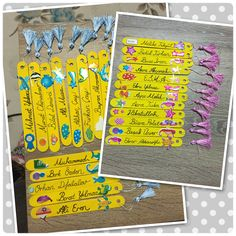 Kitap ayracı..:Tahta çubukları akrilik boya ile boyayıp delgeçle delin. Püskül yapımı için videolardan yararlanabilirsiniz. Üzerini istediğiniz gibi süsleyin :)