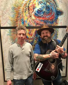 """Zac Brown Band was busy making a splash AND hanging out with my original painting, """"Splash"""" in this Park City, UT home recently! One of my favorite bands... love this!! 😊 Park City Fine Art"""