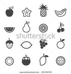 fruit vector icons, mono symbols on white background - stock vector