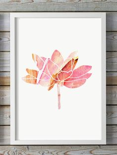 yellow pink Lotus painting - flower watercolor - Giclee Print -  Lotus Art - illustration lotus flower - Buddhism Zen Meditation decor
