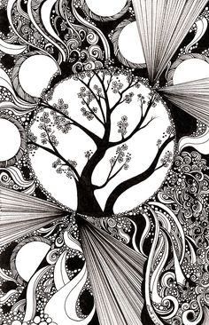 "Creative Doodling: Black and white Abstract with Trees"" by Zentangle Zendoodle Pen & Ink Drawing Tangle Ideas Zen Art Inspiration Art Zen, Zantangle Art, Zentangle Drawings, Zentangle Patterns, Art Drawings, Drawing Art, Zen Doodle Patterns, Art Patterns, Drawing With Pen"