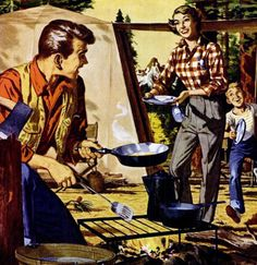 Camping - Roger Wilkerson, The Suburban Legend! Vintage Prints, Vintage Art, Vintage Food, Campfire Stories, Vintage Illustration Art, Old Paintings, Norman Rockwell, Pulp Art, Go Camping