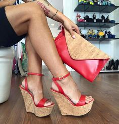 Red sexy wedges