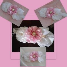 Linda headband rosa e branca com detalhes em stras e laço com perolas e strass R$ 21,90