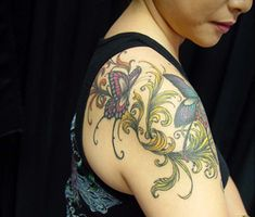 Cool Tribal Butterfly Tattoos On Shoulder