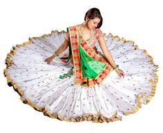 White Mirror Work Chaniya Choli With 16 Meter Gher