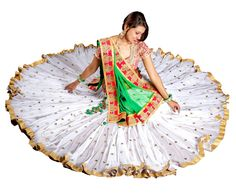 White Mirror Work Chaniya Choli With 16 Meter Gher