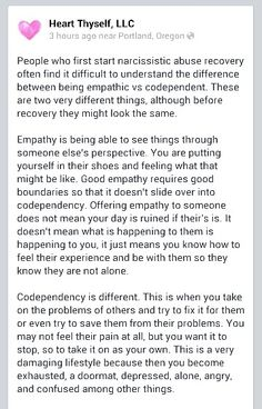 Empathy vs codependcy A Recovery from Narcissistic sociopath relationship abuse. This is something I really need to learn. I seem to 'slip' into codependent mode in most relationships; then wonder why I get overwhelmed, used, hurt, misunderstood, etc. Codependency Recovery, Narcissistic Abuse Recovery, Narcissistic Personality Disorder, Survivor Quotes, Abuse Survivor, Narcissistic Mother, Narcissistic Sociopath, Abusive Relationship, Toxic Relationships