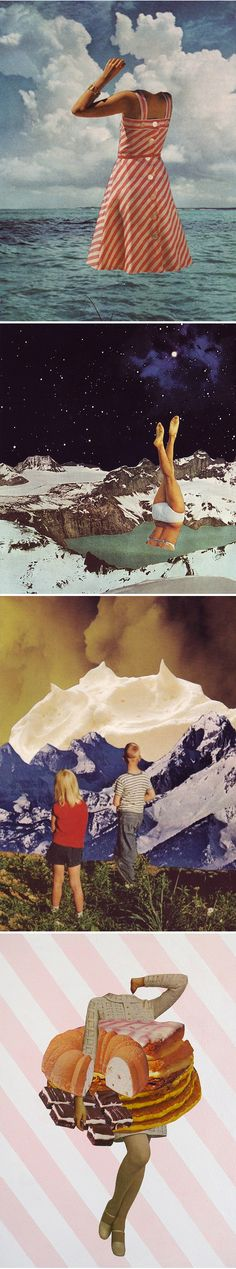 Beth Hoeckel collages - Magritte art history study - creating surrealist postcards of places traveled