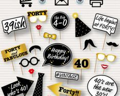 Party Photo Booth Printable Props Birthday Party por SurpriseINC