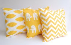 Throw pillows yellow set of three 18 x 18 by ThePillowPeople