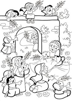 El Rincón de las Melli domingo de ramos Catholic Crafts, Church Crafts, Bible Coloring Pages, Coloring Books, Sunday School Coloring Pages, Sunday School Projects, Bible Drawing, Religion Catolica, Bible Study For Kids