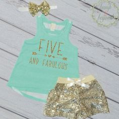 Fifth Birthday Outfit, Five and Fabulous, Girl 5th Birthday Tank Shorts Headband Set Trendy Kids Clothes Fashion Kids Clothes 193 #5th_birthday_girl #5th_birthday_outfit #Children