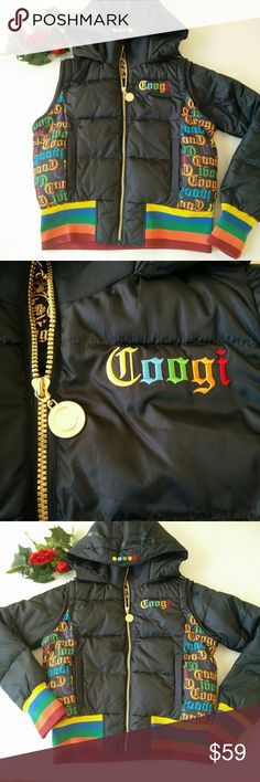 [CooGI] Bike /Bomber black Jacket/Vest size L It's a very cool Coogi puffer and multicolor embroidered coogi jacket with monogram sides front and back  with golden chain.. It has zipped sleeve, which can be removed and easily transfered to Vest.it hasn't two pockets in the front. Size tag Large. 100% polyster. Pre owned excellent condition. Buy with confidence!! I accept reasonable offers!! 😉 COOGI Jackets & Coats
