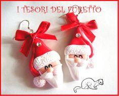 """Orecchini Natale """"Babbo Natale"""" 2012 idea regalo fimo cernit, by I TESORI DEL FURETTO, 6,20 € su misshobby.com"""
