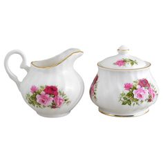 Summertime Rose Fine Bone China Sugar And Creamer Set Covered Bowl