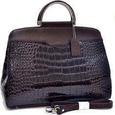 Dasein Professional Patent Croco Briefcase Style Satchel - Coffee