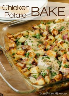 Chicken Potato Bake | DizzyBusyandHungr... - Potatoes tossed in garlic and olive oil and baked to a golden brown with tender, juicy chicken thighs. A family favorite!