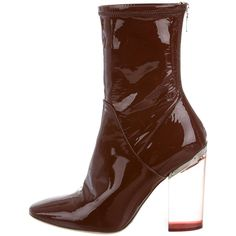 Pre-owned Christian Dior Lucite Ankle Boots ($1,295) ❤ liked on Polyvore featuring shoes, boots, ankle booties, brown, block heel bootie, brown bootie, perspex ankle boots, short boots and short brown boots