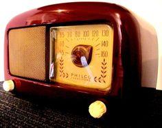 Philco DARK CHERRY RED 5 TUBE m-48-225 ca-1948,gorgeous ORIGINAL working NICE!!! #PhilcoOriginalca1948vintageradio
