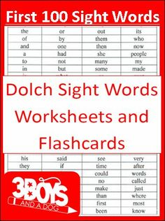 Check out the newest post (First 100 Dolch Sight Words Printables!) on 3 Boys… Sight Word Flashcards, Sight Word Worksheets, Sight Word Games, Sight Word Activities, Spanish Worksheets, Tracing Worksheets, Reading Activities, Basic Sight Words, Dolch Sight Words