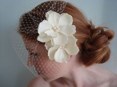 Anna Double Ivory Hair Flower and Birdcage Set by PrimandPosies, $58.00