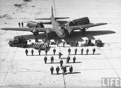 The thirty-six men needed to fly and service a B-17E in 1942.