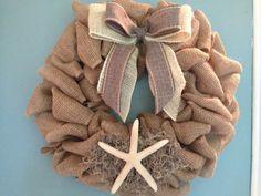 Burlap Beach Wreath Beach Wreath Starfish Wreath by JAMDesignsNJ, $50.00