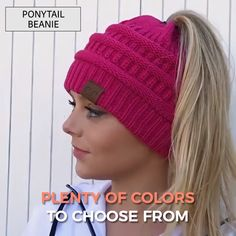 They are absolutely perfect for the pony-tail lovers of the world! The Soft Knit Beanie has a knitted or crocheted feel and makes your hair look super cute. Get your in every color! Crochet Newsboy Hat, Crochet Fox, Knitted Headband, Knit Beanie, Knitted Hats Kids, Knitted Blankets, Knit Hats, Boy Crochet Patterns, Hat Patterns