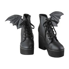 Iron Fist Bat Wing Boots Hot Topic ($56) ❤ liked on Polyvore featuring shoes, boots, lace up shoes, platform boots, lace up high heel boots, lacing boots and lace-up platform boots
