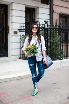 New York City fashion blogger, Dana, shares her love for a pair of Schutz floral printed flats...that also have a funny story behind them!