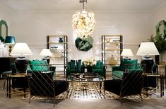 The lush emerald green of the Brian sofa goes well with the black and gold of the Art Deco style Florence coffee table and cabinet. Club Sofa, Console Table, Table Lamp, Richmond Interiors, Stock Room, Art Deco Fashion, Florence, Cabinet, Furniture