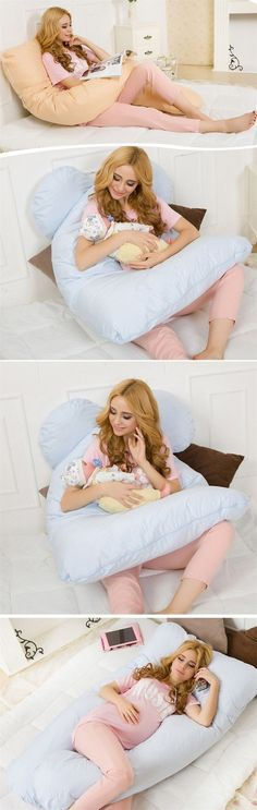 Made with a polyester and cotton blend, this pillow is the ultimate in comfort and function. Use it as a pregnancy pillow and then convert it to a feeding pillow for your infant. Great when you have t