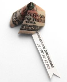 """Sandra's Projects """"wishing you a future of fortune and fun!"""" with  paper money folded into a a fortune cookie shape"""