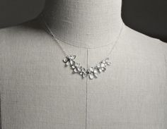 Bridesmaid Jewelry Flower Necklace Silver by SilverLotusDesigns, $36.00