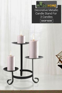 Candles are a beautiful way to decorate your home. This Decorative Metallic Candle Stand is the one that complements both contemporary and traditional home decor. This candle holder features a black shade made of iron and gives an antique look to your home decor.