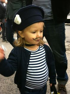Juliette as a French Bandit for Halloween Oh!