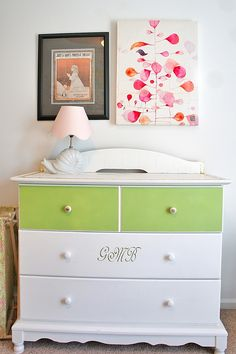 Furniture makeover - Changing table to dresser with gold leaf trim