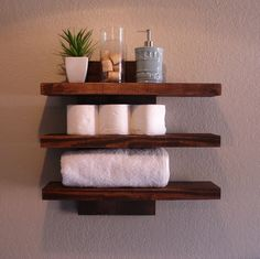 Rustic Modern 3 Tier Floating Wall Shelf by KeoDecor on Etsy