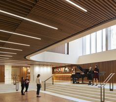 Stanton Williams completes major renovation to open up London's Royal Opera House Foyer Design, Ceiling Design, London Architecture, Contemporary Architecture, Royal Opera House London, Stanton Williams, Dark Grey Walls, Timber Slats, Lobby Interior