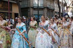 Falleras in Las Fallas in Valencia.