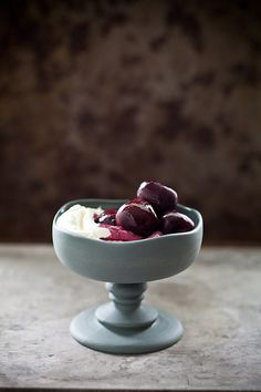 Red Wine Cherries with Ice Cream or Goat Cheese & Mascarpone Mousse {by Tartelette, via Flickr}