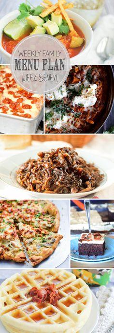 Weekly Family Menu Plan - 5 weeknight dinner recipes, a weekend breakfast, and a yummy dessert!