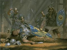 """Illustration from """"Imperial Rome at War"""". Roman auxilliaries in the forests of Dacia. C. 105 AD."""