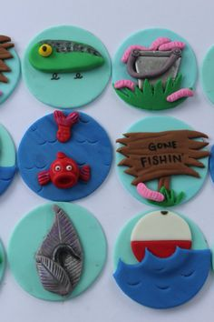 12 Fondant cupcake toppersfishing by PastelFiesta on Etsy