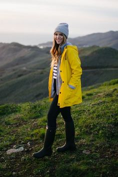 2.16 marin headlands (Petit Bateau yellow raincoat + Patagonia 'better sweater' fleece jacket in marl grey + J Crew striped sweater in cream & navy + J Crew 'toothpick' jean in classic rinse + Hunter boots + APC beanie)