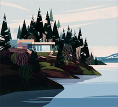"963 Likes, 11 Comments - Marie-laure Cruschi (@cruschiform) on Instagram: ""Cabins book. #illustration #landscape #architecture #cabin…"""